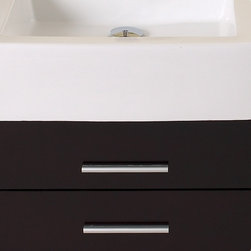 """Serio Espresso Modern Bathroom Vanity With Mirror Side Cabinet - This handsome middle of Midtown Manhattan showroom floor vanity completes any setting with an espresso finish and chrome hardware and a large ceramic white basin. This no nonsense ensemble is perfect for any location with room to spare.  It has a super sleek look and feel and features a mirror and a side cabinet.  Many faucet styles to choose from.  More optional side cabinets are available.Dimensions of Vanity:  55.38""""W x 19.63""""D x 33.75""""H. Dimensions of Mirror:  35.38""""W x 19.75""""H. Dimensions of Side Cabinet:  15.63""""W x 19.63""""H x 8.63""""D. Materials:  Solid Oak Wood, Ceramic Sink with Overflow, Marble Countertop. Soft Closing Drawers. Single Hole Faucet Mount (Faucet Shown In Picture May No Longer Be Available So Please Check Compatible Faucet List). P-trap, Faucet, Pop-Up Drain and Installation Hardware Included"""