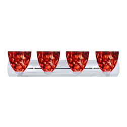 Besa Lighting - Besa Lighting 4WZ-757241-LED Sasha 4 Light Reversible LED Bathroom Vanity Light - Sasha II has a classical bell shape that complements aesthetic, while also built for optimal illumination. Our Garnet glass is full of floating, vibrant red tones with a mix of black and white tones behind them. When the glass is lit the fiery color palette illuminates to exude a harmonious display. This decor is created by rolling molten glass in small bits of deep red hues called frit along with black glass powders. The result is a multi-layered blown glass, where frit color is nestled between an opal inner layer and a clear glossy outer layer. This blown glass is handcrafted by a skilled artisan, utilizing century-old techniques passed down from generation to generation. Each piece of this decor has its own artistic nature that can be individually appreciated. The vanity fixture is equipped with sleek arcing die cast lamp holders and matching radiused rectangular canopy.Features: