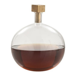 Arteriors - Edgar Cube Stopper Decanter, Antique Brass - This elegant decanter will elevate anything you put in it. The spherical glass base is paired with a cubic stopper, for a playful pairing of opposites. Use it to store spirits in the bar, bubbles in the bath or perfume in the boudoir — the options are only limited by your imagination.