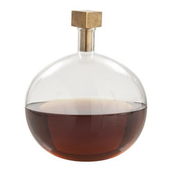 Edgar Cube Stopper Decanter, Antique Brass By Arteriors