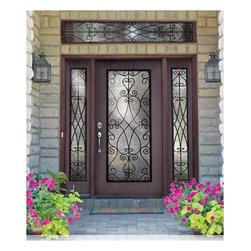 Woodgrain Fiberglass Doors - 3/0 x 6/8 Woodgrain Series Flush Full Lite w/ Priscilla Wrought Iron ---