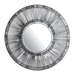 Lazy Susan - Lazy Susan Black Split Rattan Spoke Mirror X-240664 - Made from natural rattan and ironHandmade