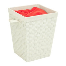 """Woven Strap Hamper With Liner, Cr-Me - Honey-Can-Do HMP-03024 Woven Strap Hamper with Liner, Cream. Double-woven hamper with epoxy-coated metal frame for extra strength.  The woven strap construction with matching carrying handles makes this hamper a great choice. Includes a natural linen liner which is machine washable. Measure 15"""" x 15"""" x 20""""."""
