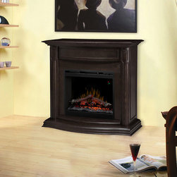 Gwendolyn Espresso Electric Fireplace Mantel Packa - The Gwendolyn electric fireplace mantel package in espresso is a beautiful addition to any living space. The dark wood beautifully contrasts light walls and reflects the dancing flames of the firebox.