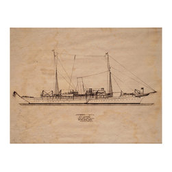 Kathy Kuo Home - Auction House Coastal Beach Sapphire Boat Blueprint Rustic Wall Art - Unframed - Your ship has come in! A natural match for the nautically inclined, this blueprint of a ship is a reproduction of an original that was uncovered in an auction house. It's custom made to order and a great addition to your collection.