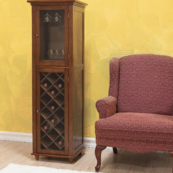 None - Kensington 20-bottle Wine Storage Cabinet - This beautiful wine cabinet offers a great way to store and display your finest wines and stemware. Included is a rack to hold up to 20 bottles of wine,a glass door to hang glasses from and a drawer with a metal pull for accessory storage.