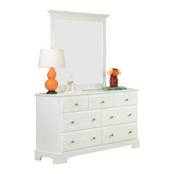 Homelegance - Homelegance Morelle 7-Drawer Dresser with Mirror in White - the warmth of cottage living is invoked by the classic styling of the Morelle collection. The collection is designed with many features perfect for today s casual lifestyle such as a low post bed with simple picture framing and round finials plus molded-drawer fronts and satin nickel knobs on the case-pieces. The addition of a pull out trundle and toy box offerings further the functionality of the collection. The ability to choose from twin, full, queen, California king and eastern king bed sizes makes this group perfect for youth bedrooms, guest bedrooms or master bedrooms. Adding to the versatility are two distinct painted finishes, black and white.