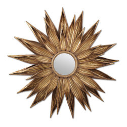 Kathy Kuo Home - Sunflower Hollywood Regency Antique Gold Wall Mirror - A true reflection of Hollywood Regency style, a sunflower is reimagined as a looking glass, forged of metal and painted with antique gold. It adds an instant shot of glamour wherever it hangs.