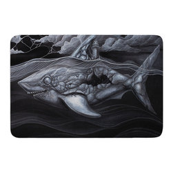 "KESS InHouse - Graham Curran ""Troubled Joe"" Memory Foam Bath Mat (24"" x 36"") - These super absorbent bath mats will add comfort and style to your bathroom. These memory foam mats will feel like you are in a spa every time you step out of the shower. Available in two sizes, 17"" x 24"" and 24"" x 36"", with a .5"" thickness and non skid backing, these will fit every style of bathroom. Add comfort like never before in front of your vanity, sink, bathtub, shower or even laundry room. Machine wash cold, gentle cycle, tumble dry low or lay flat to dry. Printed on single side."