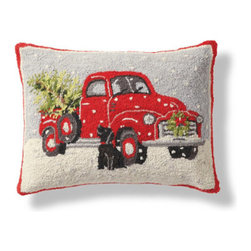 "Grandin Road - Faithful Friend Pillow - Christmas pillow with a pickup truck and dog design. Looped, 100% wool front, with a cotton velveteen backing. Hidden zipper and polyfill insert. Dry or spot clean. Toss our delightful ""Faithful Friend' Pillow onto a favorite chair or sofa and, instantly, it's Christmas. A vintage pickup truck, with a Christmas wreath on the front and freshly cut evergreen in the back, is accompanied by a faithful black dog. Classic red and green hues make this pillow ideal for the holidays.  .  .  .  . Imported."