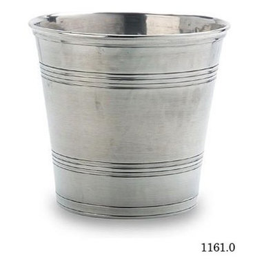 Pewter Wastebasket - I am just gaga over this line of pewter home objects - I could really use this in so many different ways in a home design! Small in dimensions so great for a bathroom - or to chill Champagne!