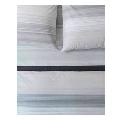 Area - Area Skyler White Yarn Dyed Cotton Percale Duvet Cover - High quality cotton duvet cover, made from Green materials. A great way to get a modern look with a healthy and eco-friendly product.