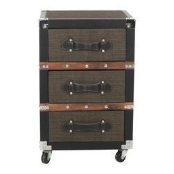 Safavieh - Lewis 3 Drawer Rolling Chest/Black-Brown-Silver - It�s a material world.  The Lewis Three-Drawer Chest brings a textural, industrial element to the office�or any room in need of a contemporary spin on portable storage. Crafted with linen and leather with metal corners and nail head detailing, it�s built to last. (Pending)