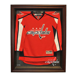 Caseworks - Washington Capitals NHL Cabinet Style Jersey Display Case in Mahogany - Wow your friends with the #1 selling hockey jersey case in the world. The easy, open-and-close, cabinet style, Genuine Mahogany Wood framed case enhances the presentation of your collectible jersey. Without a doubt, the finest display case in sports. Includes your favorite NHL team logo. Measures 42-inch High x 34 1/4-inch Wide x 3-inch Deep. Jersey not included. Made in USA. This item is perfect for your Man Cave, Game Room, Office or anywhere you want to show love for your favorite team. The item shown inside the display case is for illustration purposes only and is not included with your display case purchase.
