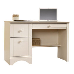 Sauder - Sauder Harbor View Computer Desk in Antiqued White - Sauder - Computer Desks - 401685