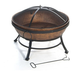 Kay Home Products - Avondale Steel Fire Bowl - For burning wood and artificial logs. Steel construction and base with four steel legs for stability. Antique copper bowl with built in log rest and fire tool Full 360 degrees view of fire with fine wire mesh lift-off spark screen.Features: