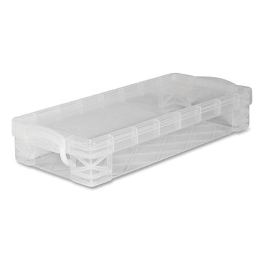 Advantus - Advantus Super Stacker Stackable Pencil Box - Stackable - Width Plastic - Clear - Stackable pencil box offers a great way to organize writing utensils in your classroom or work area. Clear design offers visibility of the contents. Plastic pencil box holds: more than 50 pencils, more than 25 pens, more than 20 markers or more than 64 crayons.