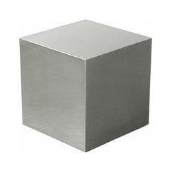 Gus Modern - Gus Modern | Stainless Cube Table - Modern and earth-friendly, the Stainless Cube Table is made from 60% recycled material. The five-sided table has a brushed  finish that is easily maintained without the need for repainting or resurfacing. The Stainless Cube Table can be used both  inside  and outside. Whether used as an end table or paired together to create a coffee table, the Stainless Cube Table is a striking  look for any living space.