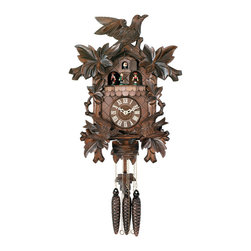 RIVER CITY CLOCKS - One Day Hand-carved Musical Cuckoo Clock with Dancers and Animated Birds - 16 In - This musical German cuckoo clock features wooden hands, a wood dial with Roman numerals, and a warm light yellow hand-painted and hand-carved cuckoo bird. The cuckoo clock case several hand-carved maple leaves and moving birds. On every hour and half-hour the two birds beneath the clock dial move up and down to feed their young baby birds in the nest. The dancers revolve on their platform every hour and half-hour. This clock also plays music on the hour & half-hour alternating between two different twenty-two note melodies: Edelweiss & The Happy Wanderer. Three cast iron pine cone weights are suspended beneath the clock case by three separate brass chains.    The hand-carved pendulum continously swings back and forth which controls the timing of the clock. If your cuckoo clock's timing should ever need adjustment, you can control the speed of your clock by sliding the maple leaf up or down the pendulum stick. Sliding the maple leaf down causes the cuckoo clock to run slightly slower, while sliding the maple leaf up makes the cuckoo clock run slightly faster.    On every hour the cuckoo bird emerges from a swinging door above the clock dial and counts the hour by cuckooing once per hour. (Example: At one o'clock the bird will cuckoo once. At eight o'clock the bird will cuckoo eight times) The half hour is announced with one cuckoo call. There is a sound shut-off device beneath the base of the cuckoo clock. Pushing the lever up disables the cuckoo birds cuckoo and the music. Pulling the lever down enables the cuckoo clock to play the music and cuckoo call.    The 30 hour all brass mechanical Regula movement, which is produced in the Black Forest of Germany, is wound once per day by raising the three pine cone weights. One weight powers the time, one weight powers the music and dancers , and the other weight powers the cuckoo bird and cuckoo call.     *Great effort ha