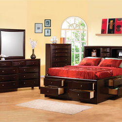 None - Sahara Cappuccino Brown Queen Bedroom 4-piece Set - The Sahara 4-piece queen bedroom set offers everything you need to complete your modern bedroom. Each piece is constructed of hardwood solids finished in cappuccino brown for rich, lasting quality.