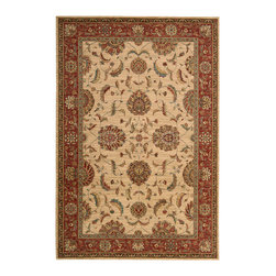 "Nourison - Nourison Living Treasures LI04 3'6"" x 5'6"" Ivory Red Area Rug 67145 - Whirling and swirling in elegant arabesques, this beautifully woven floral design puts a new spin on tradition. Lush flowerheads burst with life on a field of pure, pristine ivory, dramatically accented with details in golden brown, papyrus and persimmon."