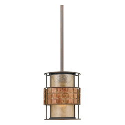 Quoizel Lighting - Quoizel Lighting MC842PRC 1 Light Rod Hung Mini Pendant Ceiling Fixture - This mica piece is an addition to the Quoizel Naturals collection and features a mosaic tile stripe, which appears to be floating around a taupe mica shade.