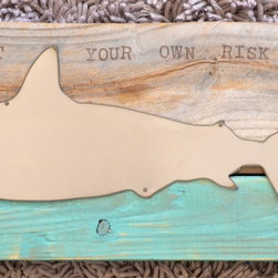 Shark on turquoise wood frame - Framed Shark