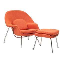 Modway - W Lounge Chair in Orange Tweed - Concerted efforts run deep in the expansively designed Womb Chair. First intended as a chair you 'can curl up in,' it has since become a symbol for organic living. The natural motif portrays growth amidst silent resolve. Perhaps this is what makes the Womb both a reception and a lounge chair. Each of us would like to find our place as it were. Whether this means feeling welcomed in by the reception halls of businesses, or feeling welcome to relax into our own homes. While mid-century modernism showed us how to embark into the age of discovery, this finely upholstered classic taught us how to contemplate upon it. The shell of the Womb chair is made of molded fiberglass with foam padding. The legs are stainless steel and come with foot caps to prevent scratching on floors.