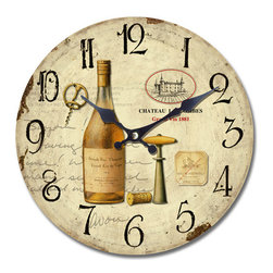 Yosemite Home Decor - Brown and Tan 14-inch Wall Clock with Bottle of Wine Print - - Part of the same family as our other wine enthusiast clock. This clock features a bottle of uncorked white wine with a vintage style bottle opener and matching chateau emblem on the right side just like the other clock.  - Takes 1 AA battery, not included  - + - 30 second/month  - Brown MDF, artwork face, black texts, black hands  - Ready to hang out from the box  - Clock type: wall  - Clock display type: Analog  - Clock face length: 13.5  - Clock face width: 13.5  - Quartz movement: Yes Yosemite Home Decor - CLKA7187