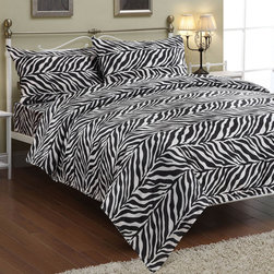 None - Zebra Black / White Faux Silk Satin Sheet Set - These faux-silk black satin sheets feature a beautiful zebra print design that brings the wilderness into your bedroom. This sheet set,that is as attractive as it is comfortable,includes a flat and fitted sheet as well as pillow cases.