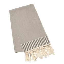 "Abanja - Etan Taupe Fouta Towel - Traditional Moroccan design defines the oversized Etan Fouta towel. Finished with classic stripes and fringed edges, this taupe accessory delivers a rich waffle weave texture. 39""W x 79""H; 100% waffle weave cotton; Black and taupe"