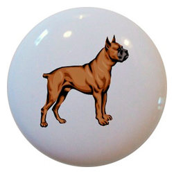 Carolina Hardware and Decor, LLC - Boxer Dog Animal Ceramic Knob - New 1 1/2 inch ceramic cabinet, drawer, or furniture knob with mounting hardware included. Also works great in a bathroom or on bi-fold closet doors (may require longer screws). Item(s) can be wiped clean with a soft damp cloth. Great addition and nice finishing touch to any room!