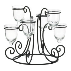 KOOLEKOO - Wrought Iron Candle Display Candleholder - Let the candlelight shine bright from your tabletop with this stunning display. Six glass candle cups rest at different heights in a circular wrought iron stand that's embellished with scrolling flair. Place the candles of your choice inside and light the night with beauty.