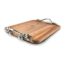 Olive Acacia Wood Rectangular Tray - Large - Silvery clusters of olive fruit and leaves, beautifully modeled and extensively detailed, turn this weighty slab of acacia wood into a beautiful decorative or serving tray, their pewter forms adding metallic glow to the richness of the wood's grain.  The Olive Acacia Wood Rectangular Tray is a showpiece worthy of forming the center of a home's entertaining.