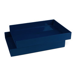 Ningbo Dinghua Industrial Limited - Letter Trays, Navy, Set of 2 - Let freedom ring with re-positionable in-boxes that can be stacked, off-set, or out-on-a-limb.Ships in: 1-2 business days