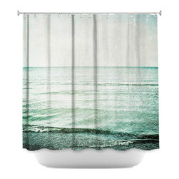 DiaNoche Designs - Shower Curtain Artistic - The Sea, My Love - DiaNoche Designs works with artists from around the world to bring unique, artistic products to decorate all aspects of your home.  Our designer Shower Curtains will be the talk of every guest to visit your bathroom!  Our Shower Curtains have Sewn reinforced holes for curtain rings, Shower Curtain Rings Not Included.  Dye Sublimation printing adheres the ink to the material for long life and durability. Machine Wash upon arrival for maximum softness on cold and dry low.  Printed in USA.
