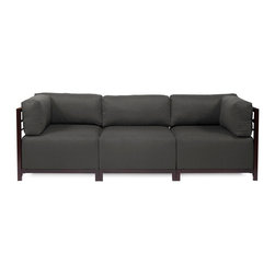 Howard Elliott - Sterling Charcoal Axis 3-piece Sectional - Mahogany Frame - A Fashionable Trio! Lounge in style on a Sterling Axis 3pc Sectional will intoxicate your room with its uplifting style. Float the Sterling Axis 3pc Sectional in your room for an intimate seating arrangement. Expand your sectional with additional Chair, Corner or Ottoman Pieces. This piece features boxed cushions with Velcro attachments to keep the cushions from slipping and looking their best all of the time. Your Sterling Axis 3pc Sectional will definitely turn heads with its sophisticated linen-like texture and vibrant color selection. This Sterling Charcoal piece is 100% Polyester finished in a soft burlap texture in a charcoal grey color. 95.5 in. W x 32.5 in. D x 30 in. H