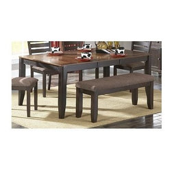 Homelegance - Natick Dining Table - Bench sold separately. Clipped corner top. Self-storing butterfly leaf. Made from acacia veneer. Two-tone warm espresso and light brown finish. Minimum: 54 in. L x 42 in. W x 30 in. H. Maximum: 72 in. L x 42 in. W x 30 in. HInstantly inviting, the Natick Collection provides a conservative modern look to your casual dining space.