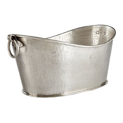 Nickel Silver Beverage Bucket | Decorative Accesory | Wisteria - As beautiful as this would be filled with ice and Cristal, I'm really digging the idea of filling up this elegant beverage bucket with cheap watery 6 ounce domestic beer bottles. But that's just me.