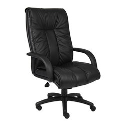 BossChair - Boss Italian Leather High Back Executive Chair - Italian executive leather chair. Beautifully upholstered with imported Italian top grain Leather. Executive High Back styling with extra lumbar support. Pneumatic gas lift seat height adjustment. Adjustable tilt tension control. Upright locking position. Leather upholstered armrests. Large 27 nylon base for greater stability. Hooded double wheel casters. Optional knee-tilt mechanism available model (B9302). Matching guest chair model (B9309).