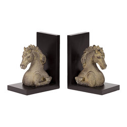 """Resin Horse Bookends - Bookends Made of Resin Measurements: (6.25""""x8""""x4.5""""H)x2"""