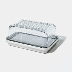 Alessi - Alessi ES03G Butter Dish - Covered butter dish in steel mirror polished with lid in grey SAN. Manufactured by Alessi.  Designed in 1998.