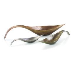 "John Richard 8x42x9.5 Copper Plated Leaf Shaped Dish - 8""H X 42""W X 9.5""D Copper Plated Leaf Shaped Dish"