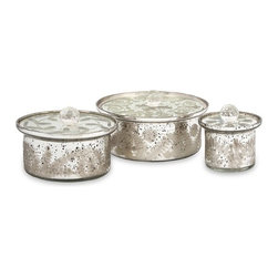 """IMAX - Dalena Etched Glass Round Boxes w/ Lids - Set of 3 - This set of three round lidded mercury glass boxes are a fabulous way to add class and style to any table! With their etched glass patterns, this set adds a little bit of sparkle to any room. Item Dimensions: (3.5""""h x 4-6-7.5""""w x 4-6-7.5"""")"""