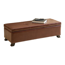 Great Deal Furniture - Canal Storage Ottoman Bench - The Canal Storage Ottoman Bench is upholstered with fine, luxurious, saddle brown leather on all sides. The top of this piece is home to two simple tufts in the leather, at the intersection of meticulous stitching that keeps the leather properly shaped and smooth. All sides are wrapped in the same high quality leather with light padding. The top of this ottoman opens to reveal storage space.