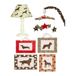 Cotton Tale Designs - Houndstooth Decor Kit - A quality baby bedding set is essential in making your nursery warm and inviting. All Cotton Tale patterns are made using the finest quality materials and are uniquely designed to create an elegant and sophisticated nursery. Houndstooth Decor Kit includes Wall Art, Standard Lamp, and Mobile. The Wall Art is an adorable set with 4 puppy silhouettes in rich colors of brown, black, tan, and red. The Dachshund measures 10  in.  X 12 in. , the Golden Retriever measures 12 in.  X 14 in. , the Boxer measures 10 in.  X 14 in. , and the Terrier measures 12 in.  X 12 in. . Hand painted on light weight canvas and mounted on foam core. Can be hung with attached ribbon or can be framed. 4 Piece Set. Dust clean only. The Houndstooth Lamp and Shade is in pup fabric with the standard ivory lamp base. Manufacturer recommends no more than a 60 watt bulb. Spot clean only. Perfect for a boy or a girl. The last part of the Houndstooth Decor Kit is the musical mobile with floating doggie bones and stars. Canopy in bright pebble pattern with arm cover in chocolate/white polka dot. Mobile plays Brahms lullaby, wind up mechanism. Spot clean only.