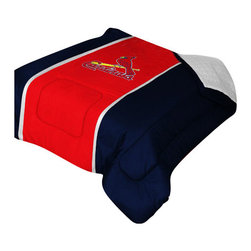 "Zappysales - St Louis Cardinals Sidelines Comforter Queen - Comforter Full/Queen 86"" x 86"". Covers are 100% Polyester Jersey top and bottom side, filled with 100% Polyester Batting. Logos are screenprinted. Machine washable in warm water, and tumble dry on low heat."