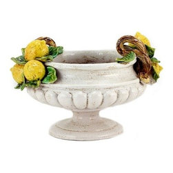 Artistica - Hand Made in Italy - Robbiana: Round Footed Cup Centerpiece with Lemons - Robbiana Collection: