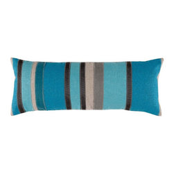 Lacefield Designs - Lacefield Designs Mediterranean Blue, Turquoise and Plasma Lumbar Pillow - Mediterranean Blue, Turquoise and Plasma Ribbon Stripe 11 X 28 Lumbar Pillow