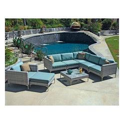 Ibis 8-Piece Modern Patio Sectional Set, Spa Cushions